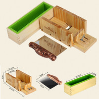 3pcs Set D0019 Silicone Liner Mold With Wood Box Stainless Steel Soap Loaf Cutter Wooden Soap
