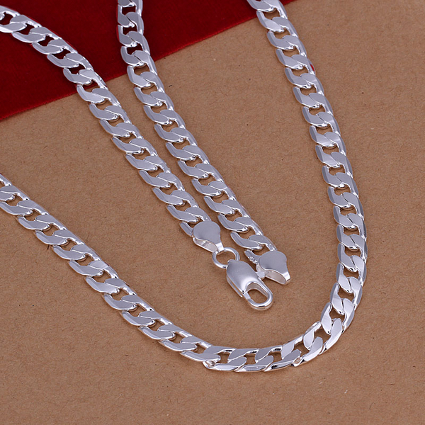 N047 Top Quality Silver Plated & Stamped 925 jewelry 6mm curb mens link necklace for men fine jewerly chain necklace chain