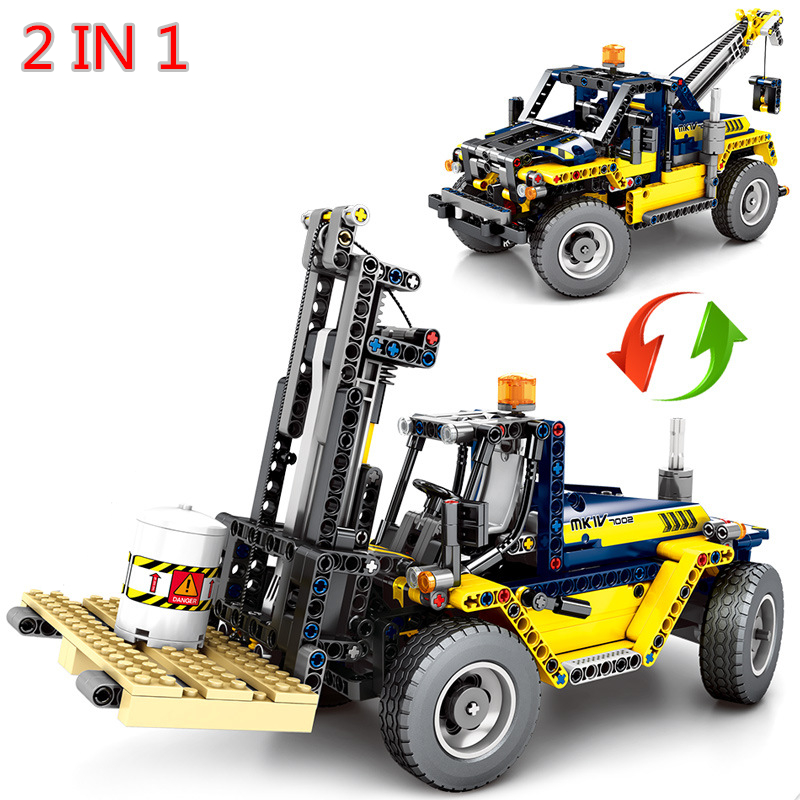 2019 New 2 IN 1 Technic Mechanical Engineering Forklift Crane Building Blocks Model Sets Bricks Classic For Children Toys Gift image