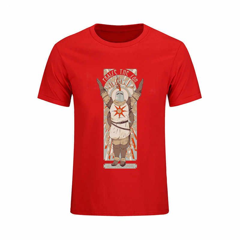 """2017 летние модные мужские футболки Dark Souls II 2 артерии рубашка """"Восславь солнце"""" принт футболка Чистый хлопок Повседневная одежда крутые топы футболки"""