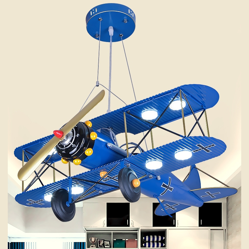 Child room suction LED blue red ceiling lamp boy cartoon bedroom lamp art lamps eye guard aircraft ceiling light ZA1129535