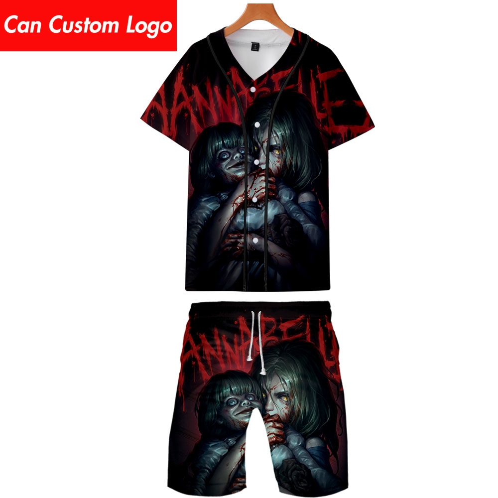 2019 Annabelle Two Piece Set Jackets And Shorts Kpop Fashion New Cool Print Annabelle Baseball Jacket Set For Men Streetwear