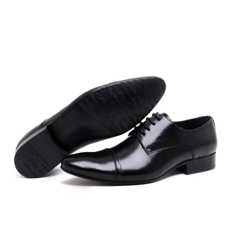 2017 New Men's Shoes Genuine Leather Lace Up Dress Oxfords Wedding Party Shoes Plain Basic Style Point Toe EU37-44 2Colors 2017 men s cow leather shoes patent leather dress office wedding party shoes basic style pointed toe lace up eu38 44 size