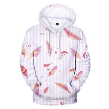 Women Autumn Hoodie Winter Thicken Keep Warm Sweatshirt Casual Leaf 3d Digital Printing With Hat Top Hoodie Bluza Damska #38(China)