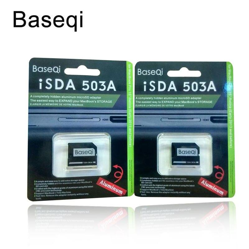 Baseqi Metal MicroSD Ninja sigiloso coche adaptador para MacBook Pro Retina 15 pulgadas a mediados de 2012 A principios de 2013 503A portátil polvo enchufe adaptador