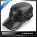 Men's Fashion Leather Cap Male Winter Warm Baseball Cap Elder Earmuffs Fur Hats Middle-aged Male Flat Cap B-4550