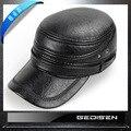 Moda masculina Boné de Beisebol do chapéu de Couro Masculino Inverno Quente Earmuffs Pele Chapéus Tampa Plana Masculino de Meia Idade Mais Velho B-4550