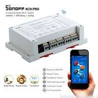 New Sonoff 4CH Pro 4 Channel Mounting Switch WiFI Smart Home Automation 10A 2200W Switches