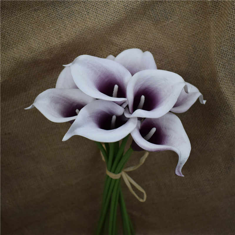Brown Calla Lilies Real Touch Flowers DIY Silk Wedding Bouquets Autumn Wedding Bouquets
