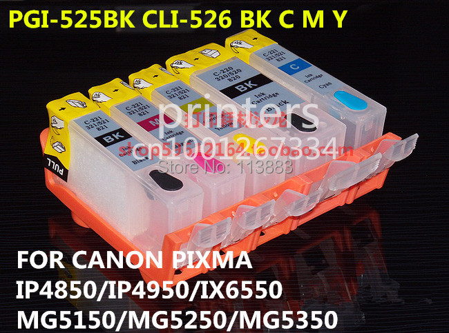 PGI-525 CLI 526 refillable ink cartridge for canon PIXMA IP4850 IP4950 IX6550 MG5150 MG5250 MG5350 MX715 MX885 MX895 printer 5pcs pgi425 cli426 refillable ink cartridge 500ml dye ink for canon pixma mg5240 mg5140 ip4840 ix6540 ip4940 mg5340 mx894 714