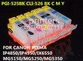 Pgi-525 CLI 526 cartucho de tinta recargable para canon PIXMA IP4850 IP4950 IX6550 MG5150 MG5250 MG5350 MX715 MX885 MX895 impresora