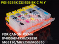 Pgi-525 CLI 526 cartucho de tinta recarregáveis para canon PIXMA IP4850 IP4950 IX6550 MG5250 MG5150 MG5350 MX895 MX715 MX885 impressora