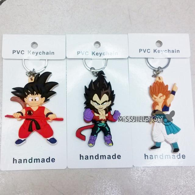 10pcs Dragon Ball Fashion KeyChain Super Saiyan Goku Vegeta Soft Figure Doll Toy Jewelry Pendant Keyring