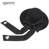 QDKPOTC 2018 Autumn Winter New Female Fedoras Big Bowknot long Ribbon Cap Wool Felt Hat Bucket Topper Hats for Women