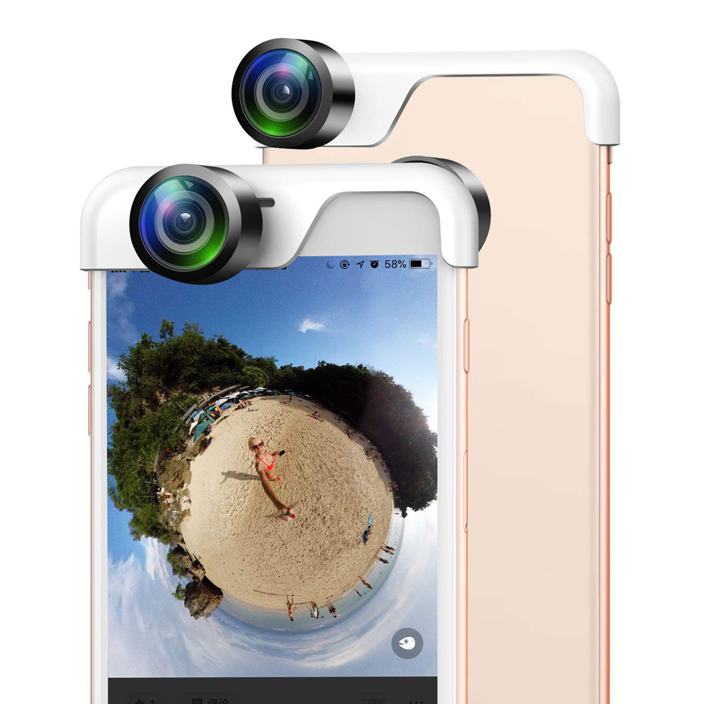 Hyleton HD Phone Camera Lenses Wide Angle Lens with clip dual camera for iphone7/8/x 360 Degree Panoramic Lens app control