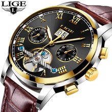 LIGE Watch Men Business Fashion Top Luxury Brand Watches Military Sports Waterproof Mechanical Leather Watch Relogio Masculino