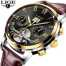 LIGE montre mécanique en cuir pour hommes, bracelet de marque de luxe, sport, militaire, étanche, mécanique, haut tendance