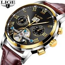 LIGE ساعة رجال الأعمال قمة الموضة العلامة التجارية الفاخرة الساعات العسكرية الرياضة مقاوم للماء ساعة جلدية ميكانيكية Relogio Masculino
