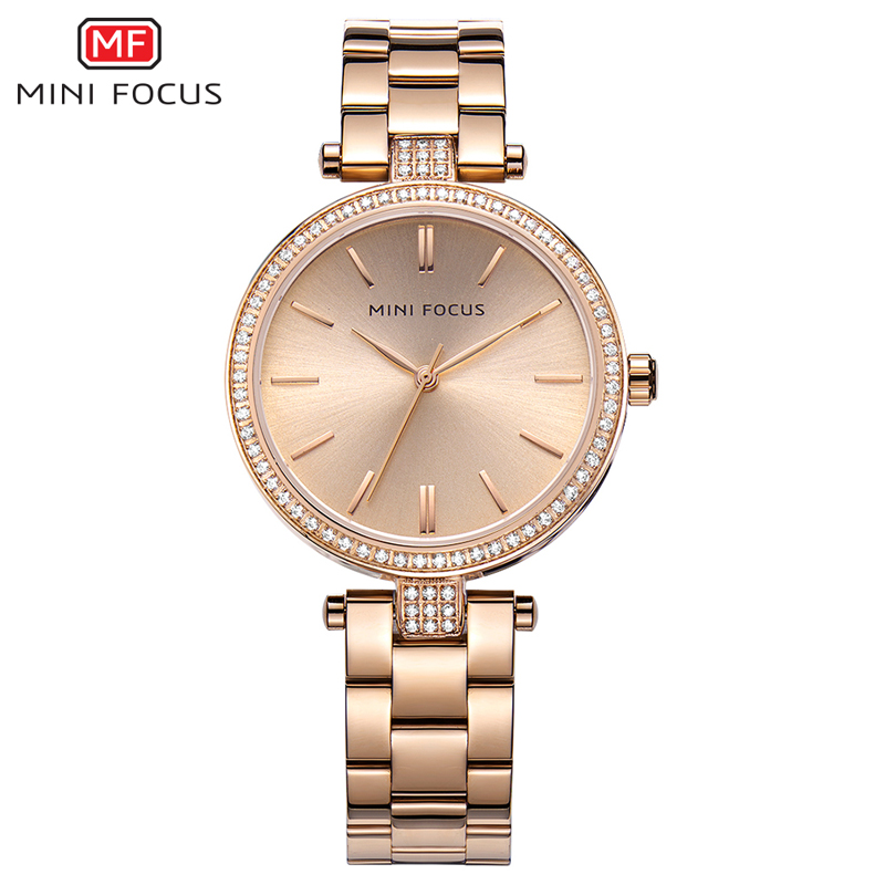 MINI FOCUS Rose Gold Women Watches Stainless Steel reloj mujer Top Brand Luxury Clock Ladies Quartz Wrist Watch Relogio Feminino watch women luxury brand lady crystal fashion rose gold quartz wrist watches female stainless steel wristwatch relogio feminino