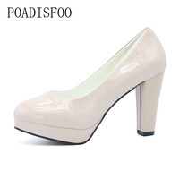 POADISFOO NEW Spring And Autumn Single High Heeled Shoes Waterproof Nude Color High Heeled Shoes Bridal