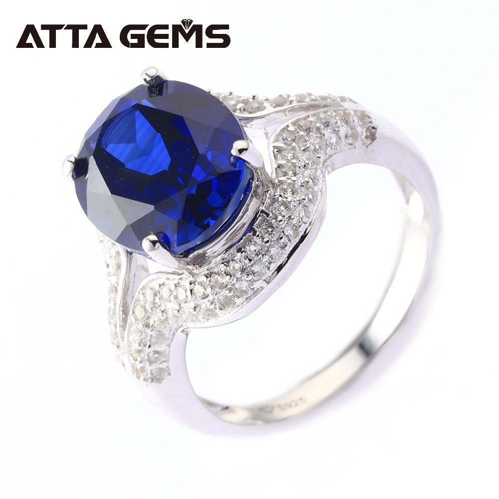 Blue Sapphire Solid Silver Rings Unisex Design for Men Women 7 Carats Created Faced Cut Sapphire Classic Style for Wedding Band blue sapphire silver bracelet for women tennis bracelet wedding party 15 carats 45 pieces created blue sapphire luxury style