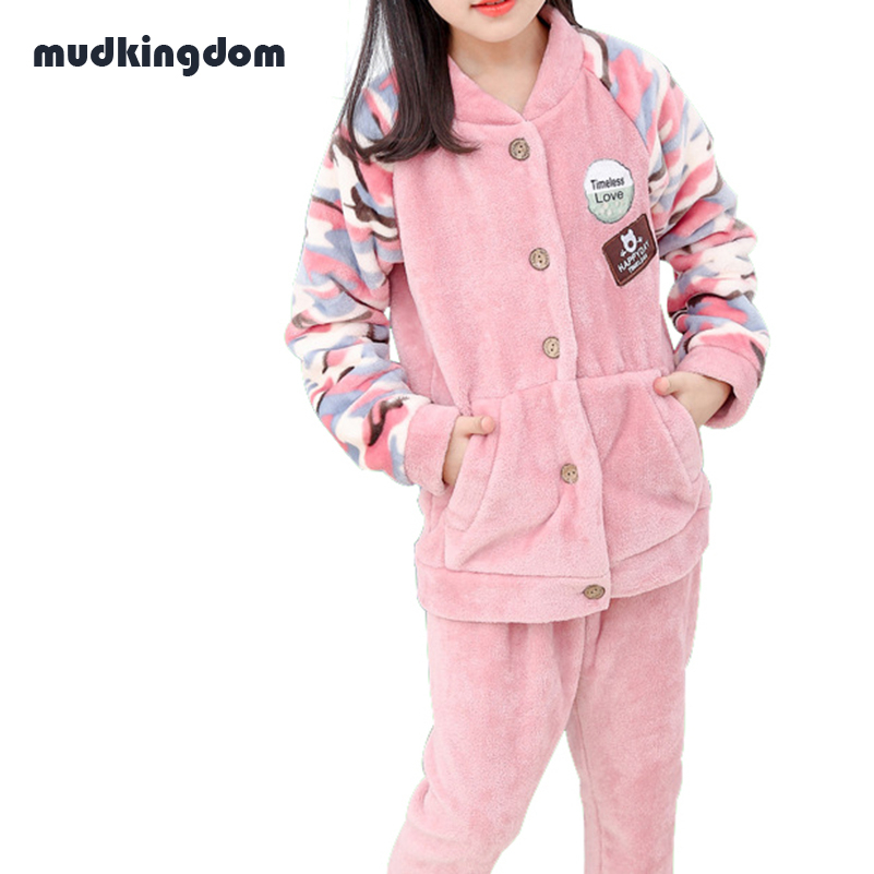 mudkingdom baby girls christmas pajamas sets kids baby girl clothes teenager girls coral fleece pajamas pijamas thanksgiving