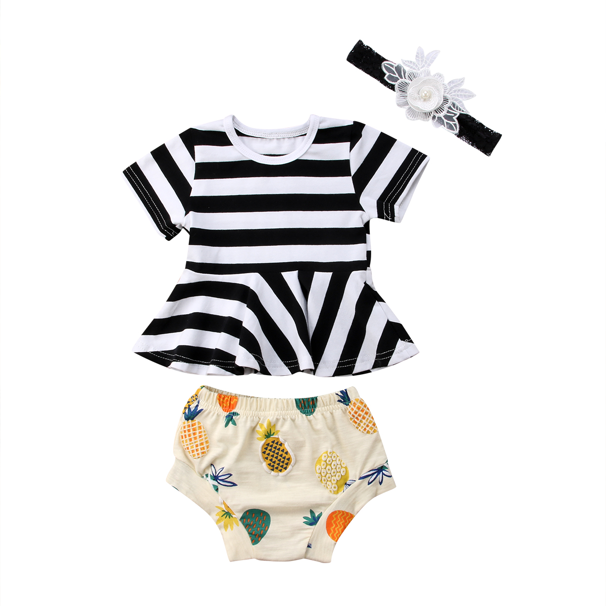 3PCS Newborn Toddler Clothes Baby Girls Dress Tops T-shirts Shorts Headband Cotton 3PCS Outfit Clothing Sets Baby Girl 0-24M