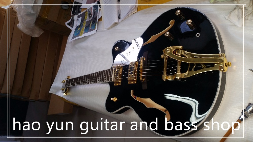 best price jazz hollow guitar gretsch black electric guitar china muscial instrument for sale in. Black Bedroom Furniture Sets. Home Design Ideas