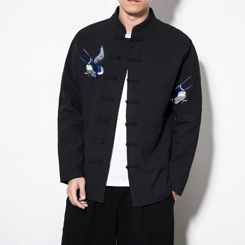 2018 הסיני חדש סגנון רטרו בתוספת גודל 5XL טאנג חליפת צעירים מעילי גברים רקום Hanfu זכר מסורתי קונג פו מעיל מעיל