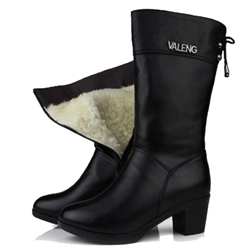 Women warm wool Autumn Winter Genuine Leather High Boots Fashion ladies Thick heels Woman Round toe Shoes Womens Black Boots genuine leather square toe mid calf boots autumn winter boots warm shoes woman thick high heels shoes for women boots