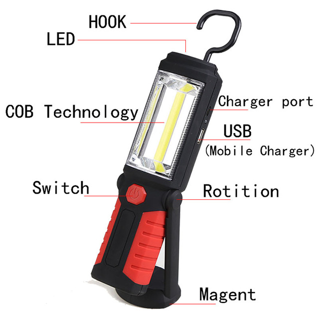 Anjoet 18650 COB Torch Charging Linterns LED Rechargable USB Flashlight Work Light Magnetic HOOK with Mobile Power Function