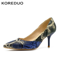 KOREDUO Classic Sexy Pointed Toe High Heels Women Pumps Shoes Faux Snake Printed Spring Brand Wedding