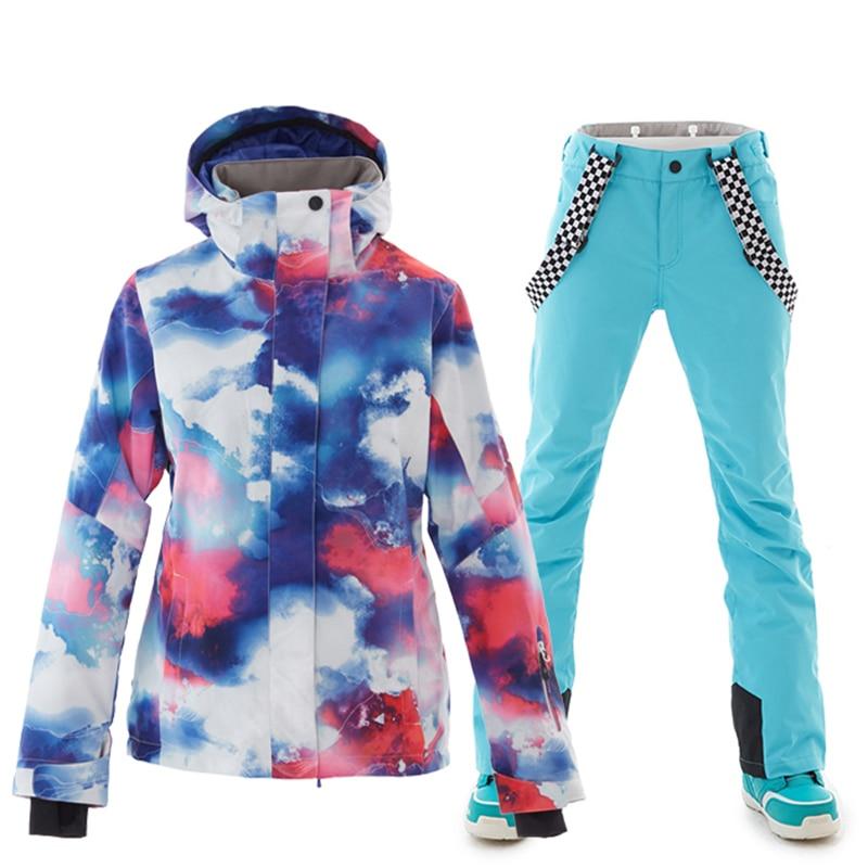 Winter Ski Suit Women High Quality Ski Jacket And Pants Snow Warm Waterproof Windproof Skiing Snowboarding Female Ski Suits
