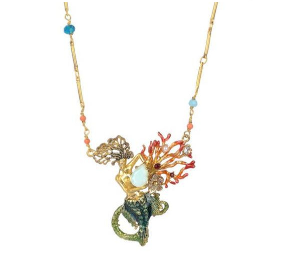 цена на Enamel Glaze Mermaid Coral Gem Necklace For Women Elegant Luxury Pendant Necklace Party Jewelry