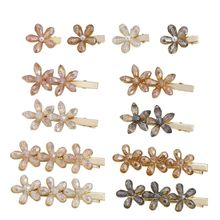 Korean Glitter Faux Crystal Flower Hairpin Ladies Side Bangs Jewelry Decorative Metal Alloy Duckbill Hair Clip Barrette 12 Style