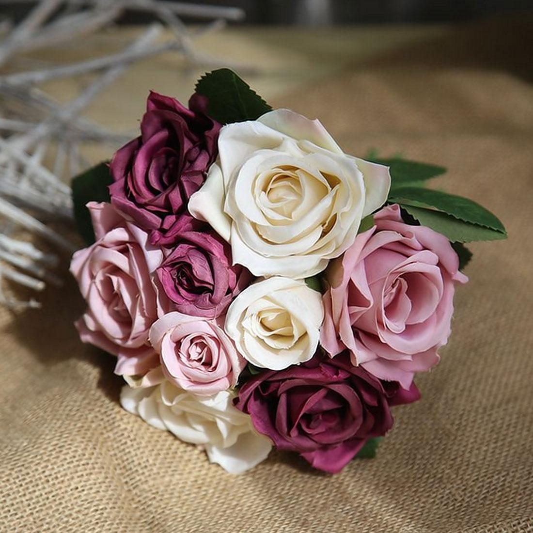 Top Quality 9pcs Rose flowers banquet Thai Royal Rose wedding decoration artificial flowers Faux silk flower roses home decor