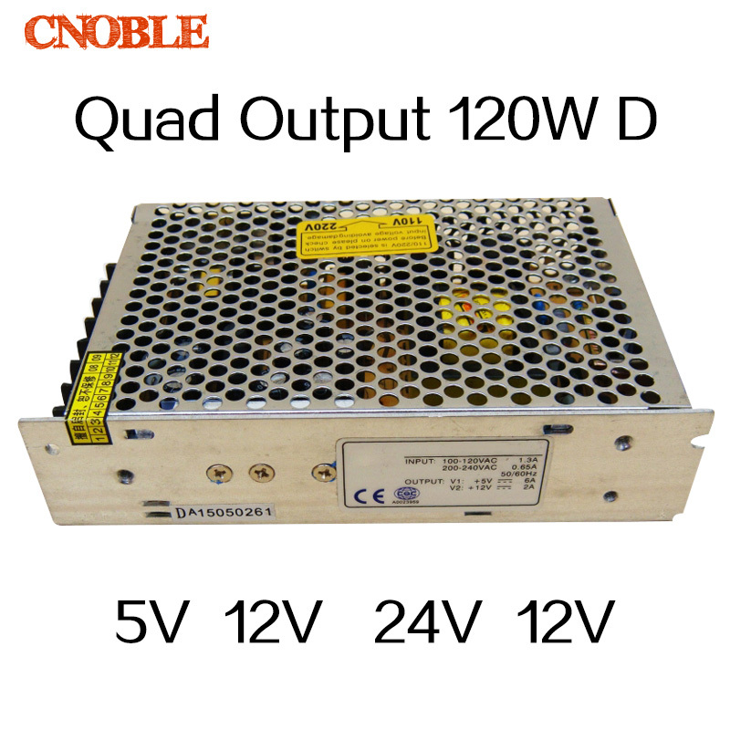 120W D Quad output 5V 12V 24V -12V Switching power supply AC to DC SMPS ce ccc ac dc dual output 12v 120w power supply