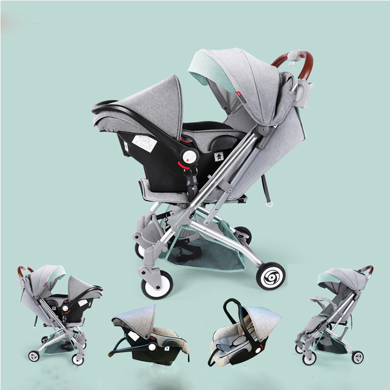 Baby Stroller 3 In 1 New Baby Can Carry Basket Safety Seat