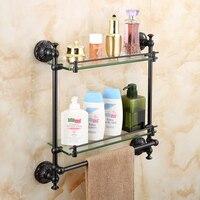 Black bathroom glass shelf copper retro bathroom wall hanging double cosmetic frame American bathroom accessories lo8201042