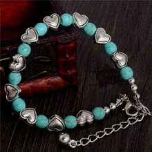 QCOOLJLY 2019 Newest 1pc Popular Heart Shape Design Lady Woman Silver Color Green Natural Stone Bracelet(China)