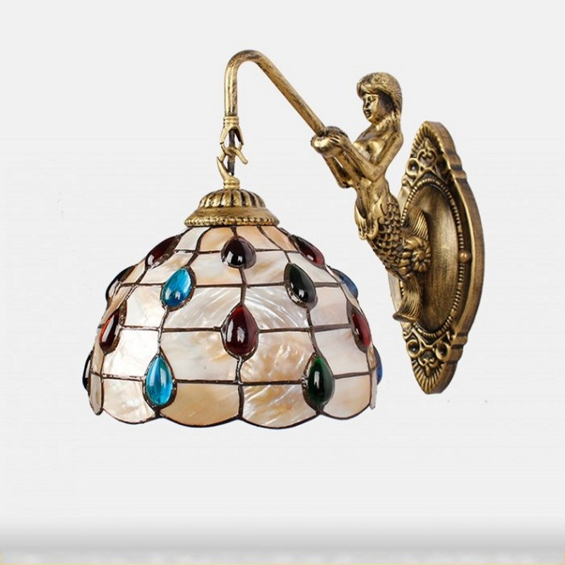 Tiffany Baroque vintage shell Iron Mermaid wall lamp indoor lighting bedside lamps wall lights for home AC 110V/220V E27 tiffany baroque vintage stained glass iron mermaid wall lamp indoor lighting bedside lamps wall lights for home ac 110v 220v e27