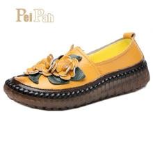 Купить с кэшбэком PEIPAH Handmade Women Shoes Genuine Leather Retro Female Loafers Flat Shoes Women Spring Round Toe Slip-On Ladies Flats Shoes