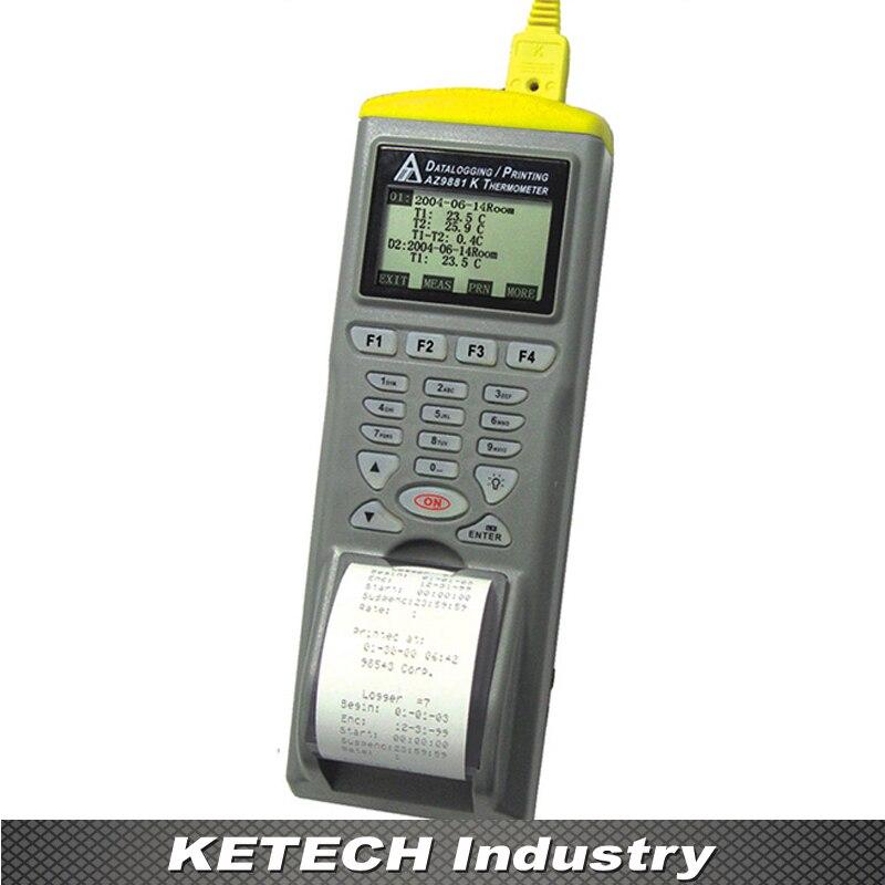 AZ-9881 Digital Dual Input Thermocouple Temp. Logger with Printer