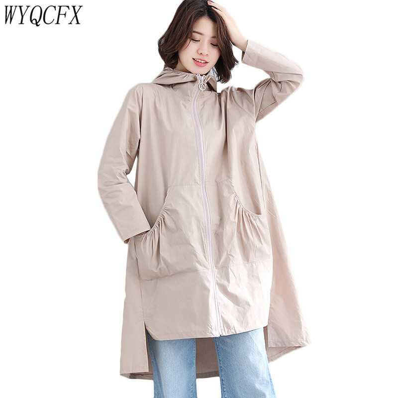 Plus Size Windbreaker Coat Women Loose Hooded Solid Color Long   Trench   Lady Spring Autumn 2019 Korean Casual Cardigan Red Black