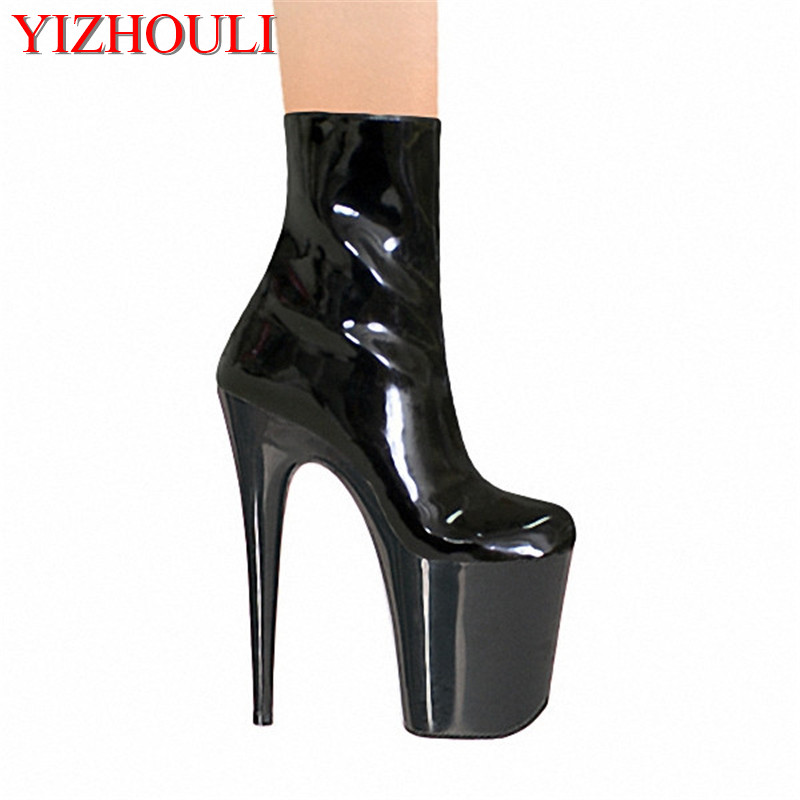 8 Inch Sexy Ankle Boots 20cm High-Heeled Shoes Crystal Boots Platform Round Toe Steel Pipe Dance Plus Size Shoes 20cm sexy ultra high heeled platform shoes performance shoes platform black pu leather single shoes 8 inch fashion crystal shoes
