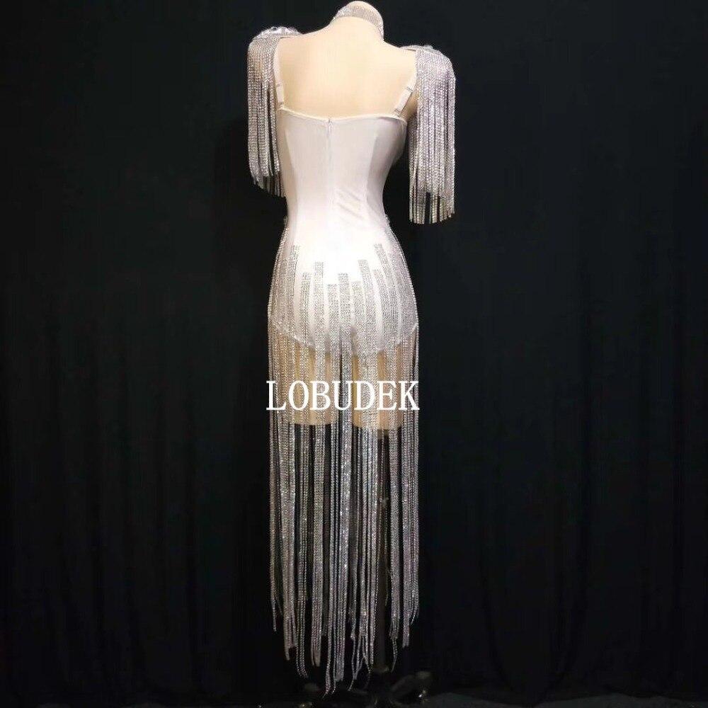 Sparkly White Rhinestones Tassels Epaulet Bodysuit Sexy Fashion Female Singer Stage Wear Nightclub Dancer Group DJ Dance Costume