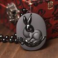 Natural men and women with obsidian rabbit Chinese zodiac pendant to ward off bad luck transport act the role ofing is tasted