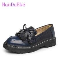 HanDuEKe High Quality Women Flats Platform Shoe Leather Tassel Slip On Lady Brogue Loafers Female Brand
