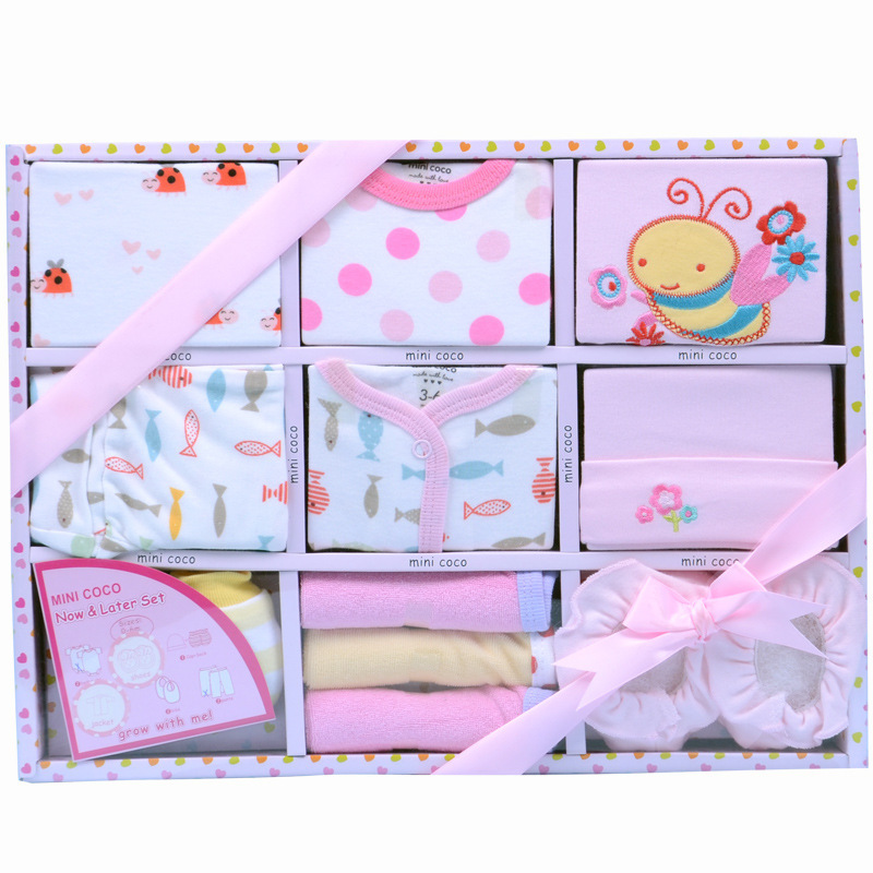 11 pieces high quality cotton newborn baby gift set baby. Black Bedroom Furniture Sets. Home Design Ideas
