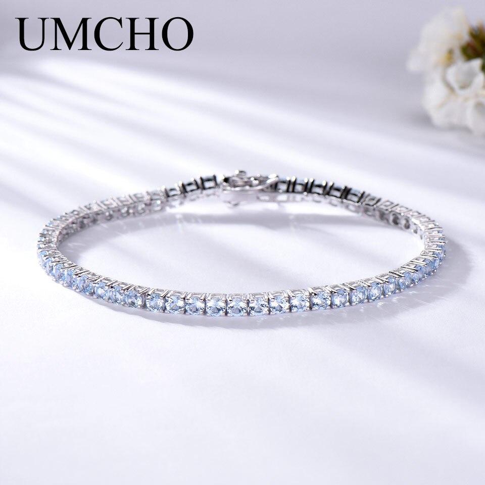 UMCHO Genuine 925 Sterling Silver Jewelry Created Sky Blue Topaz Gemstone Bracelet for Women Birthstone Wedding Party Jewelry